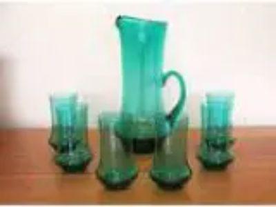 Vintage s Aqua Glass MARTINI Cocktail Set