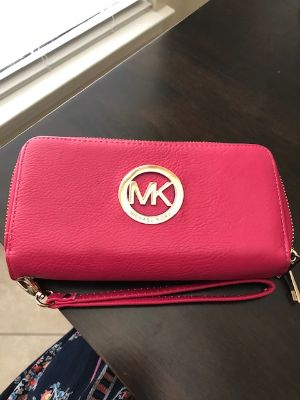 Michael Kors Fuchsia, Dark Pink Double Zipper Wallet, Large Wallet