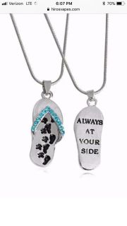 Always At Your Side flip flop pendant necklace