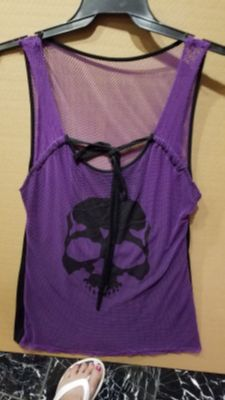 Ladies XL Purple & Black Fish Net Top
