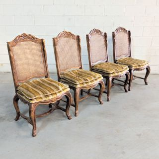 4 French Provincial Oak Cane Back Dining Chairs
