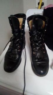JUSTIN LACE UP WOMENS SIZE 5 BOOTS GREAT SHAPE
