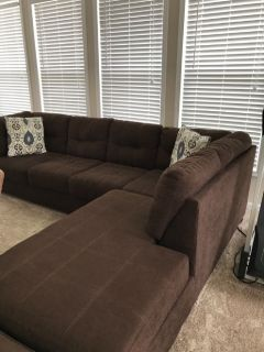 Dark brown L shaped sofa with chaise