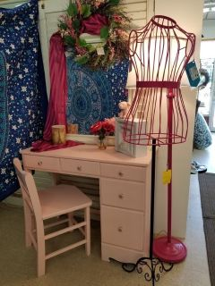 Pink Painted Wood Desk & Chair #1594-2965