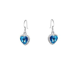 Blue Crystal Halo Heart Earrings + Free Shipping