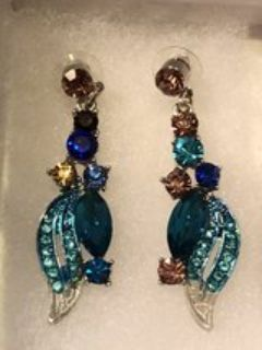 HAMER Jewelry Blue Multicolor Painting Crystal Statement Charm Earrings