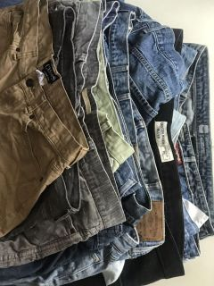 1$ name brand jeans, 1$ dress pants, 1$ name brand women and men s cloths