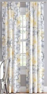 Grey/Yellow Floral Curtains