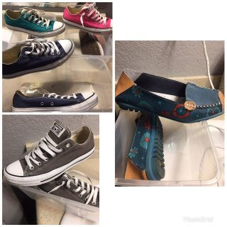 4 pair of Converse sz 8 women & multi colored leather shoes