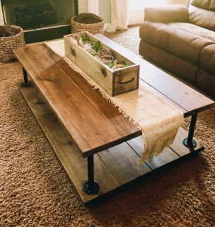 Beautiful handcrafted industrial/farmhouse coffee table