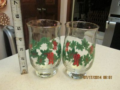 """2 Gold-Rimmed Vintage Christmas Glasses By """"Libbey - NWT"""