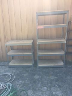 2 Industrial Metal & Wood Shelves - Pickup Only Monday, July 22 between 10:00 AM & 6:00 PM - PM for address