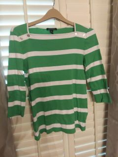 Ralph Lauren 3/4 length sleeve top, green and white stripe, size L, excellent used condition