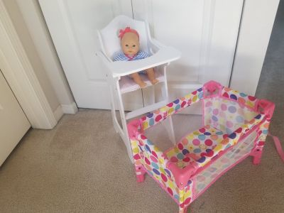 Baby doll highchair and crib