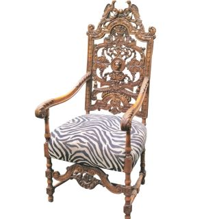 19th Century Baroque Carved Throne Chair