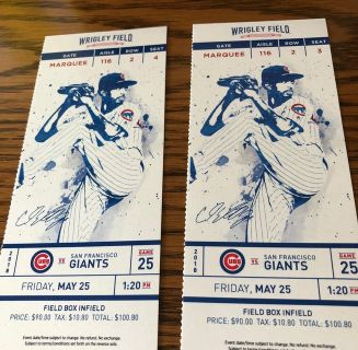 Chicago Cub Tickets (2); May 25th; Good seats!!!