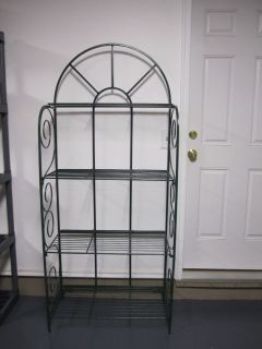 Baker's Rack .Very Dark Green Speckled Wrought Iron. Sides Fold in for transport.