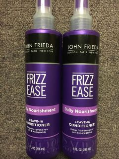 2 Bottles of John Freda frizz ease daily nourishment leave in conditioner