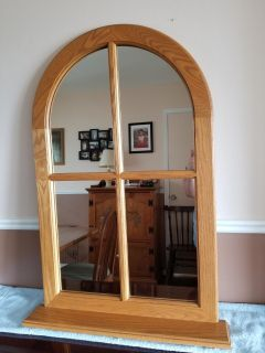 BEAUTIFUL SOLID OAK ARCHED MIRROR WITH SHELF