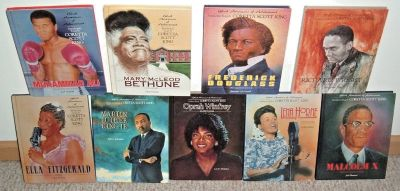 Vintage 90s 9 Black Americans of Achievement Books Lot Luther Malcolm Oprah Ali