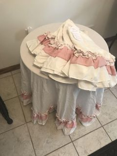 4 ruffled valances and table skirt to match