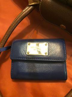 Micheal Kors Gold Bar Navy Blue Coin Purse Wallet