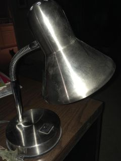 Metal Silver Desk Lamp, Great Condition-Normal Light Bulb