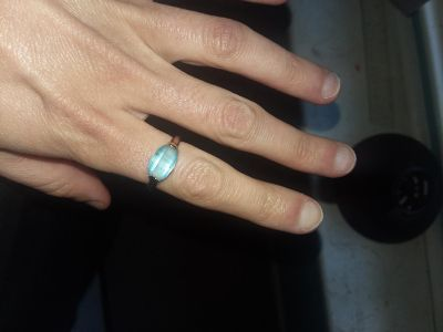 Blue costume jewelry ring. size 7.5 or 8