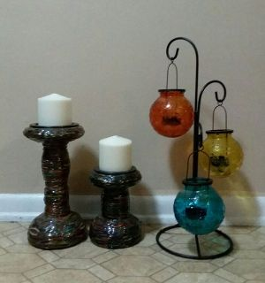 PIER ONE/PATIO CANDLE HOLDER SET......EXCELLENT CONDITION
