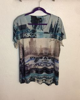 Style & Co Women's Prague Graphic Embellished Blouse.. Pre-Owned in EUC..Size 1X ...Worn once... Like New