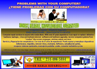 Affordable computer repair Avoid retails No hourly fees North Dallas Central and Royal lane