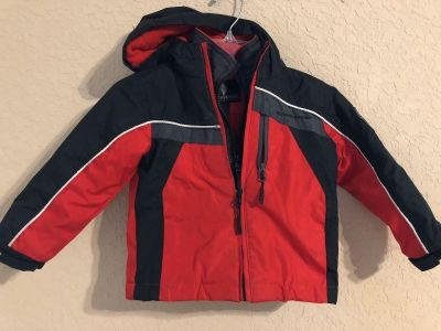 WEATHERPROOF Double Zippers Red and Black Winter Coat With Hood. Fully Lined And Thick And Insulted- Perfect For Snow Skiing As Well.Size 2T