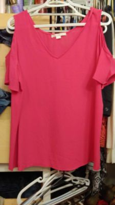 C & E dressy pink shirt with cutout shoulders