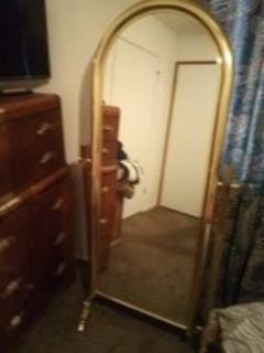 cheval brass mirror
