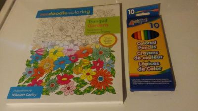 New Adult Coloring Book with Colored Pencils