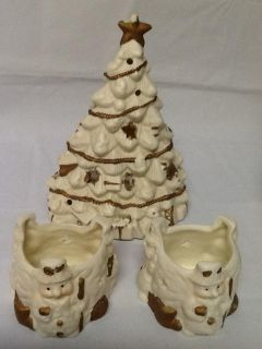 Christmas Tree & Snowmen Candle Holder Set
