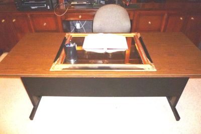 REDUCED from $250, First Come: Office Furniture: Metal Desk, wood grain looking top.EXC!