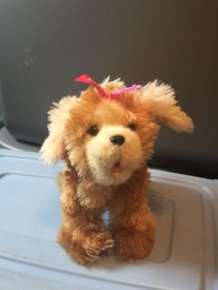 Fur Real Friends brown puppy with pink bow