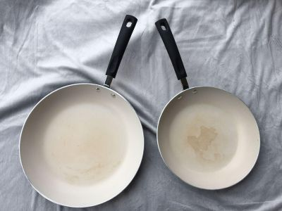 Set of 2 tramontina porcelain enamel nonstick frying pans, 10 & 12 , used maybe once/NWOT