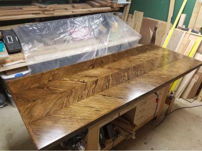 Handmade Oak Double Chevron Dining Table