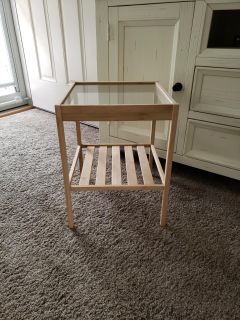 Wood and glass plant stand