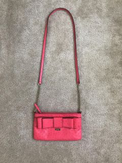 AUTHENTIC coral Kate Spade crossbody purse with bow detail! Vintage: FANTASTIC condition! $40