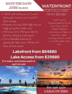 LAKEFRONT WITH LOTS FROM $29880.