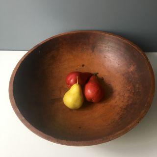 """Primitive antique turned wood dough bowl - 16.75"""""""