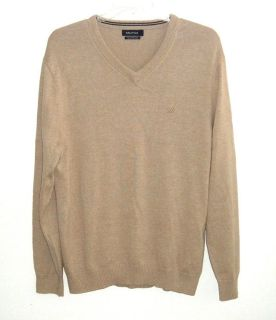 Nautica Tan V-Neck Pima Cotton Blend Light Weight Sweater Mens XL Long Sleeve