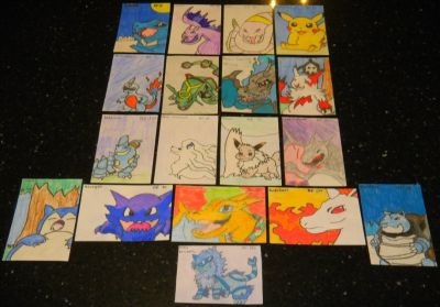 Pokemon Cards Custom / Free-Hand Drawn By My 11 Year Old Daughter **UPDATED**