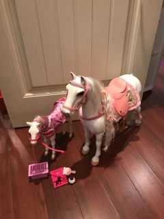 18 dolls horse and foal set