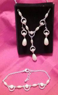 Avon silver and faux pearl necklace set