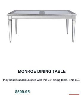 glass monroe table set