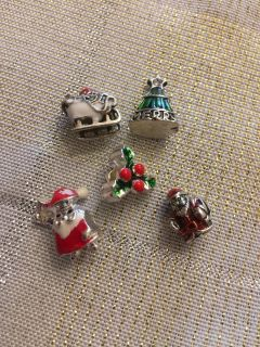 Lot of 5 NEW Assorted Christmas European Charms for Bracelets & Necklaces